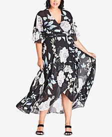 City Chic Trendy Plus Size Printed Maxi Wrap Dress