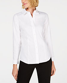 Anne Klein Cotton Button-Up Blouse