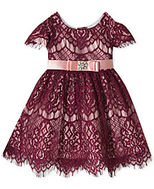 Rare Editions Baby Girls Burgundy & Pink Allover Lace Fit & Flare Dress