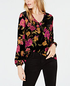 Bar III Floral-Print Velvet Blouse, Created for Macy's