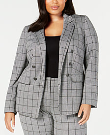 Kasper Plus Size Open-Front Double-Breasted Blazer