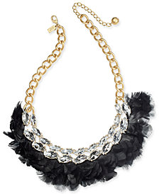 "kate spade new york Gold-Tone Crystal & Feather Statement Necklace, 16"" + 3"" extender"