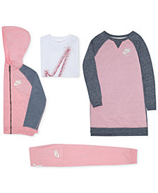 Nike Little Girls Zip-Up Hoodie, Gym Dress, Graphic T-Shirt & Jogger Pants