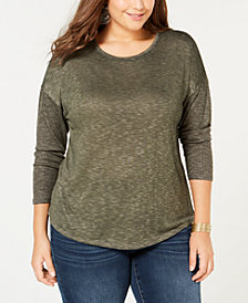 I.N.C. Plus Size Mixed-Media Top, Created for Macy's