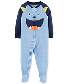 Carter's Baby Boys Monster Face Footed Fleece Pajamas