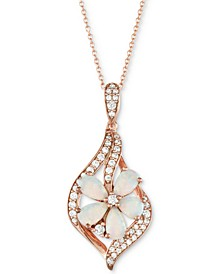 "Opal (1 ct. t.w.) & Diamond (1/5 ct. t.w.) Flower 18"" Pendant Necklace in 14k Rose Gold"