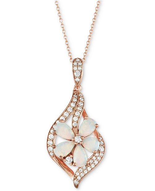 "Macy's Opal (1 ct. t.w.) & Diamond (1/5 ct. t.w.) Flower 18"" Pendant Necklace in 14k Rose Gold"