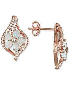 Opal (1-1/3 ct. t.w.) & Diamond (1/3 ct. t.w.) Flower Drop Earrings in 14k Rose Gold