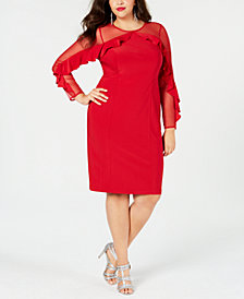 R & M Richards Plus Size Illusion Ruffle Sheath Dress