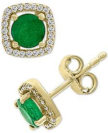 EFFY® Emerald (1 ct. t.w.) & Diamond (1/8 ct. t.w.) Stud Earrings in 14k Gold