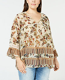 John Paul Richard Plus Size Printed Bell-Sleeve Peasant Top