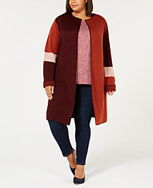 NY Collection Plus Size Colorblocked Duster Cardigan