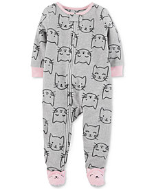 Carter's Baby Girls Cat-Print Footed Pajamas