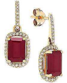 Certified Ruby (2-1/3 ct. t.w.) and Diamond (1/5 ct. t.w.) Drop Earrings in 14k Gold