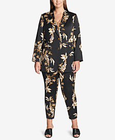 Calvin Klein Plus Size Printed Jacket, Twisted Shell & Pants