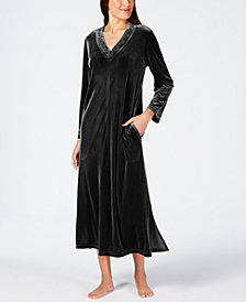 Charter Club Long Velvet Zip Robe, Created for Macy's