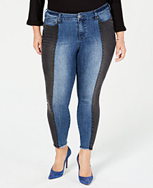 Celebrity Pink Trendy Plus Size Colorblocked Skinny Jeans