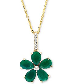 "Emerald (2 ct. t.w.) and Diamond Accent 18"" Flower Pendant in 14k Gold"