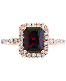 EFFY® Rhodolite Garnet (1-7/8 ct. t.w.) & Diamond (1/4 ct. t.w.) Ring in 14k Rose Gold