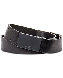 Hugo Boss Men's Gond Leather Plaque Belt
