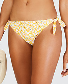 California Waves Mellow Yellow Daisy Printed Side Tie Hipster Bottoms, Created for Macy's