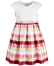 Bonnie Jean Little Girls Jacquard Striped Metallic Dress