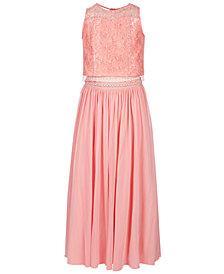 Sequin Hearts Big Girls Plus 2-Pc. Glitter-Lace Maxi Dress