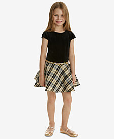 Rare Editions Toddler Girls Velvet Plaid Drop-Waist Dress