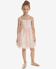 Little Girls Soutache Sequin Illusion Neck Dress