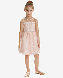 Rare Editions Toddler Girls Soutache Sequin Illusion Neck Dress