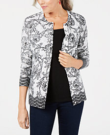 Karen Scott Printed-Lace Cardigan, Created for Macy's