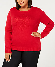 Karen Scott Plus Size Embroidered Sweater