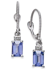 Tanzanite (1-1/5 ct. t.w.) & Diamond Accent Drop Earrings in 14k White Gold