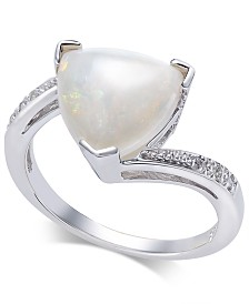 Opal (1-3/4 ct. t.w.) & Diamond Accent Ring in Sterling Silver