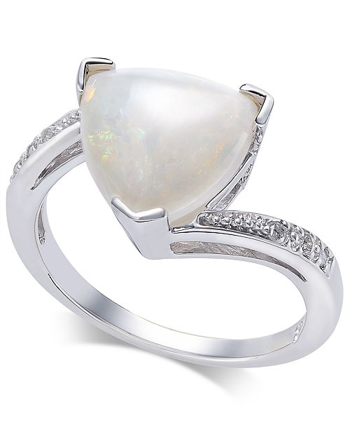 Macy's Opal (1-3/4 ct. t.w.) & Diamond Accent Ring in Sterling Silver