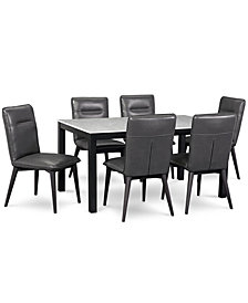 Callisto Marble Dining Furniture, 7-Pc. Set (Table & 6 Side Chairs), Created for Macy's