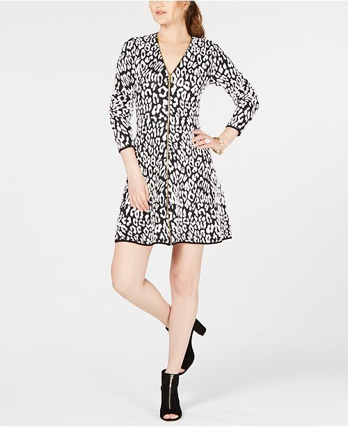50e2f79563 INC International Concepts I.N.C. Petite Animal-Print Sweater Dress ...