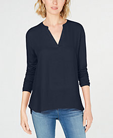 I.N.C. Mixed-Materials Split-Neck Top, Created for Macy's