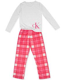 Calvin Klein Big Girls 2-Pc. Fleece Pajama Set