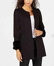 Nine West Fitted Zip-Front Topper Jacket