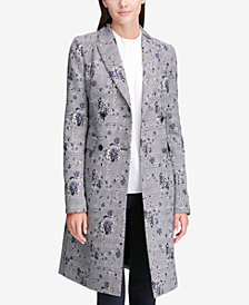 Calvin Klein Floral-Printed Plaid Double-Breasted Jacket, Regular & Petite