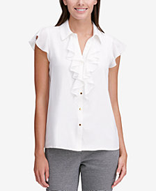 Calvin Klein Ruffled Button-Up Blouse