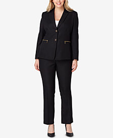 Tahari ASL Plus Size Zipper-Pocket Pantsuit