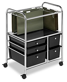 Hanging File Storage Cart, 5 Drawer