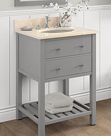 "25"" Harrison Bath Vanity With Marble Sink Top Set, Gray W/Galala Beige Top"