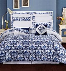 Tribeca Living Catalina 12-Pc. Cotton California King Comforter Set