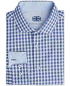 Michelsons of London Men's Slim-Fit Performance Check Dress Shirt