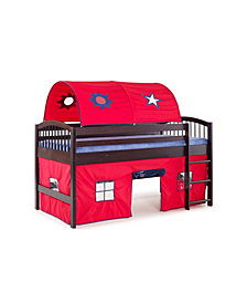 Addison Espresso Finish Junior Loft Bed,Tent and a Playhouse with Trim