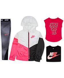 Nike Little Girls Colorblocked Hooded Jacket, Graphic T-Shirts & Printed Leggings