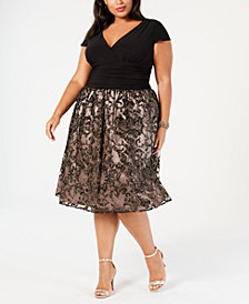 SL Fashions Plus Size Glitter Fit & Flare Dress